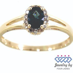 Blue Sapphire Halo Diamond Oval Ring Yellow Gold